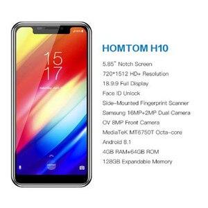 Image 2 - Оригинальный смартфон HOMTOM H10, Android 8,1, Восьмиядерный процессор, 4 ГБ, 64 ГБ, 3500 мАч, задняя камера 16 Мп + 2 Мп, сканер отпечатка пальца