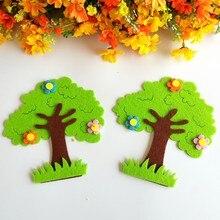 Autocollant mural arbre vert feuilles en feutre Non tissé, étiquette murale école maternelle, livre de classe pour enfants, travail manuel, artisanat, accessoires Diy bricolage