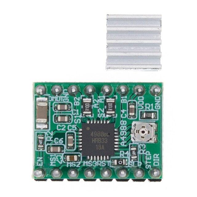 100Pcs A4988 Module Cnc 3D Printer Onderdelen Accessoire Reprap Pololu Stepper Motor Driver Module Met Heatsink Voor Ramps 1.4
