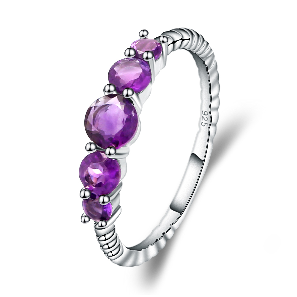 Gem's Ballet 1.28Ct Natural Amethyst Gemstone Stackable Ring For Women Wedding Band Ring 925 Sterling Silver Fine Jewelry