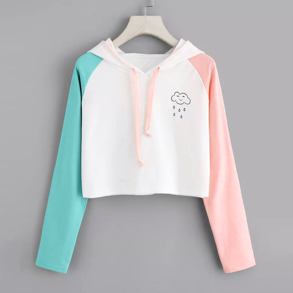 JAYCOSIN Fashion Women Casual Simple Sweatshirt Patchwork Long Sleeve Solid Color Comfortable Soft Short Pullover Tops Blouse
