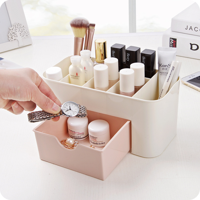 Schreibtisch Kleinigkeiten Kosmetik Lagerung Container Kunststoff Make-Up <font><b>Organizer</b></font> Multi-funktionale Machen Up Pinsel Lagerung <font><b>Box</b></font> Mit Schublade image