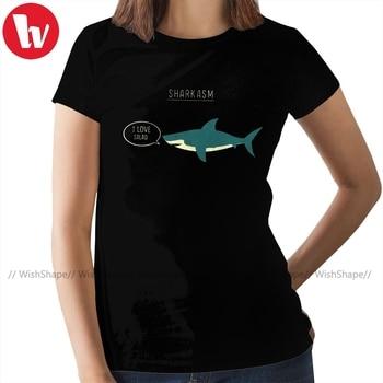 цена на Dinosaur T-Shirt Sharkasm Classic T Shirt Printed O Neck Women tshirt Silver Short Sleeve Ladies Tee Shirt