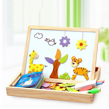 JOYLIVE Multifunctional Wooden Magnetic Toys Kids Drawing Toys Table Children 3D Puzzle For Education Animal