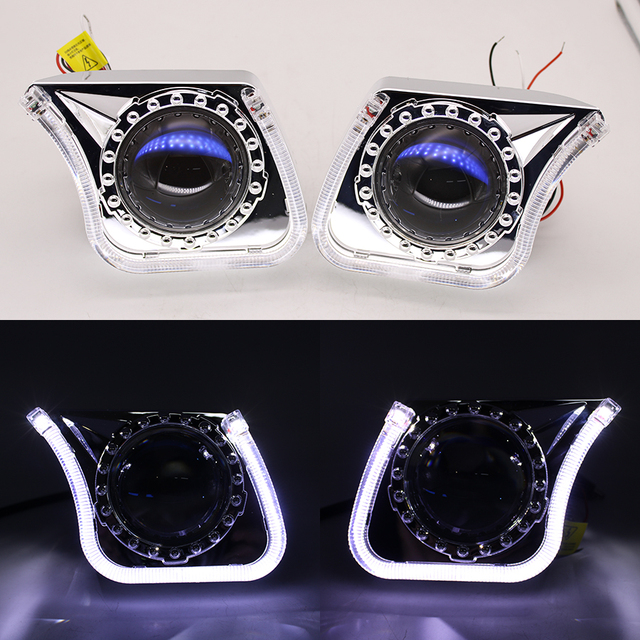 TAOCHIS YT140 3.0 inches bi xenon LED projector lens shroud DRL car headlights angel eyes white red blue yellow color