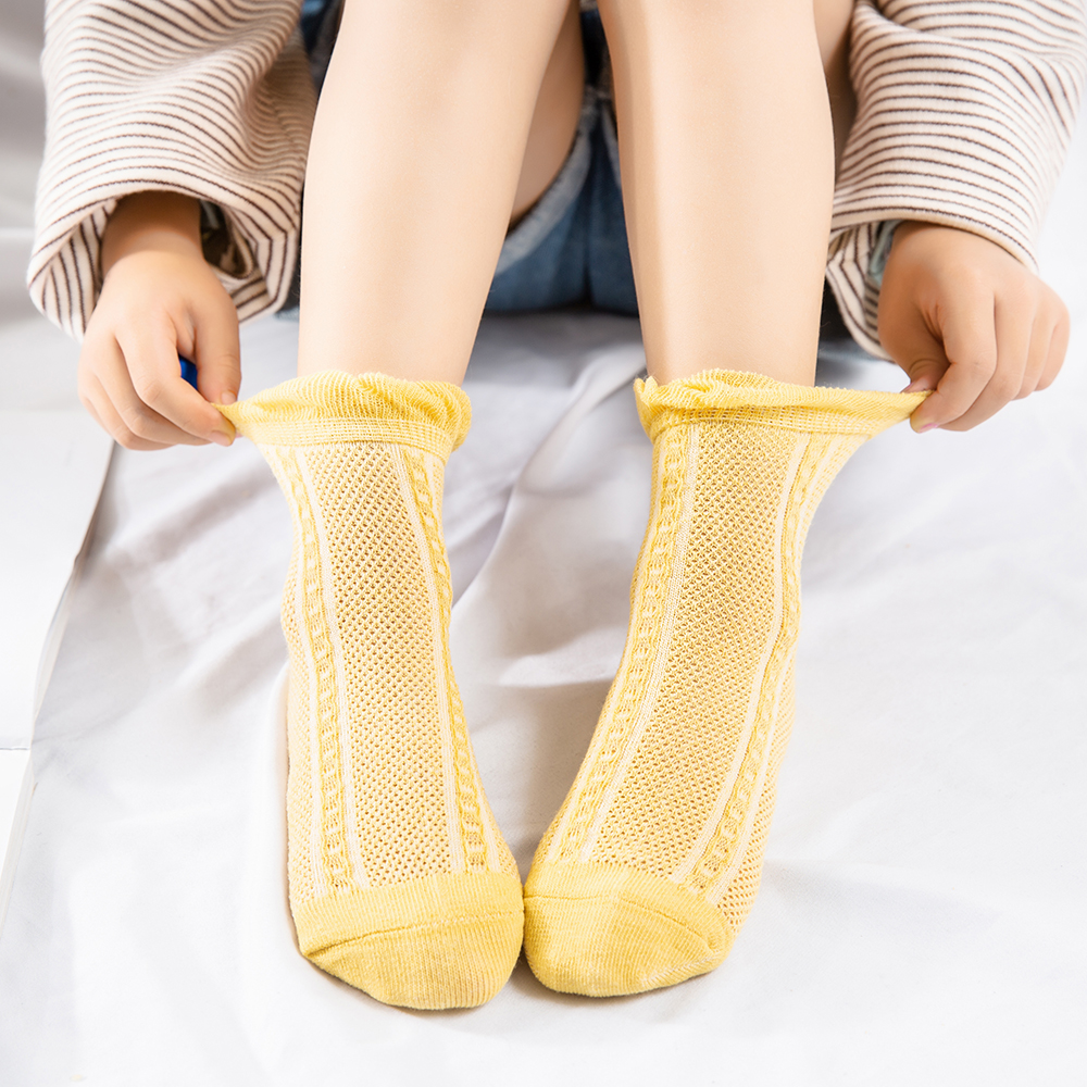 5Pairs/lot 2-9Y Baby Socks Summer Cotton Jacquard Thin Kids Socks Solid Colorful Girls Mesh Cute Newborn Boy Toddler Socks Baby 5