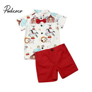 Hot Sale Brand Boys Clothing Children Summer Boys Clothes Cartoon Circus Print Kids Boy Clothing Set T-shit+Pants roupa infantil(China)
