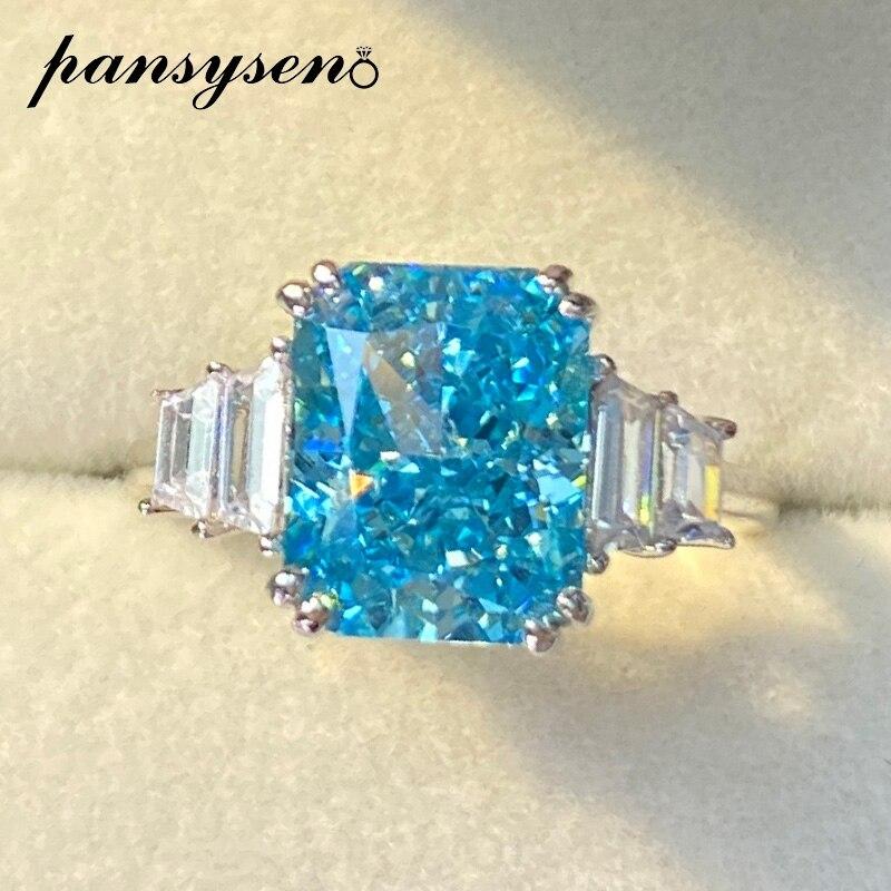 PANSYSEN 100% 925 en argent Sterling créé Moissanite aigue-marine bague de fiançailles de mariage bijoux fins laboratoire diamant anneaux pour les femmes