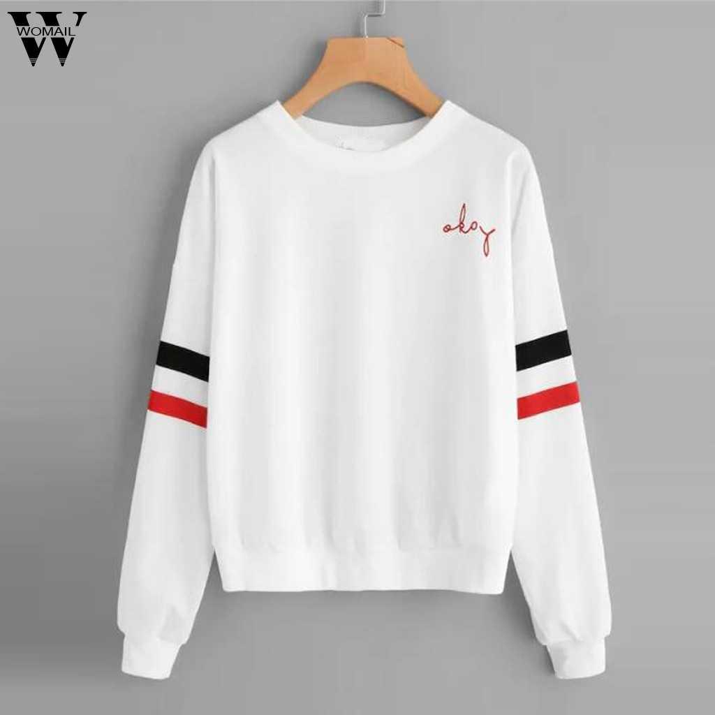 2019 Nieuwe Herfst Winter Splice Oke Brief Harajuku Print Trui Dikke Losse Vrouwen Hoodies Sweatshirt Vrouwelijke Toevallige Jas S-XL