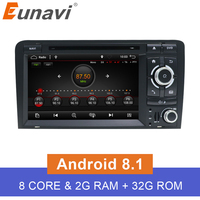 Eunavi 7'' Octa core 2 Din Android 8.1 Car DVD player Radio Stereo GPS Navi for Audi A3 S3 RS3 in dash touch screen usb wifi
