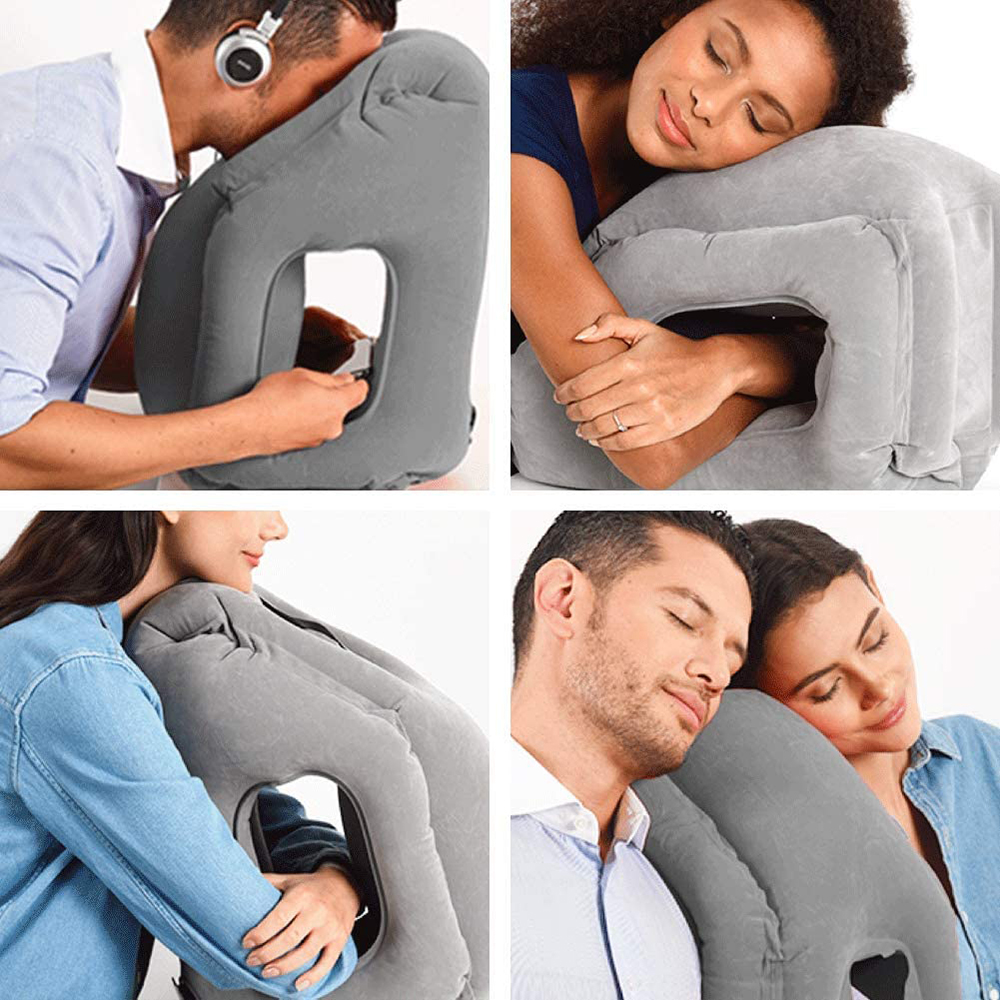 inflatable travel pillow portable multifunctional neck and head support lap pillow for airplanes trains buses office napping