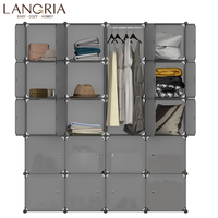 LANGRIA 16/20 Cube Assembly Simple Closet Plastic Cube Mutiluse Storage Organizers Modern Shoes Cabinet Gray Home Furniture