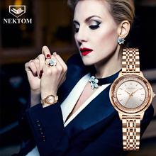 Nekttom 2021 nowych moda diament panie zegarek strasy różowe złoto skórzane bransoletki zegar kwarcowy zegarek dla dziewczyn kobiet tanie tanio NEKTOM QUARTZ Klamerka z zapięciem CN (pochodzenie) STAINLESS STEEL 3Bar Moda casual 14mm ROUND 11 5mm Hardlex 8023 19cm