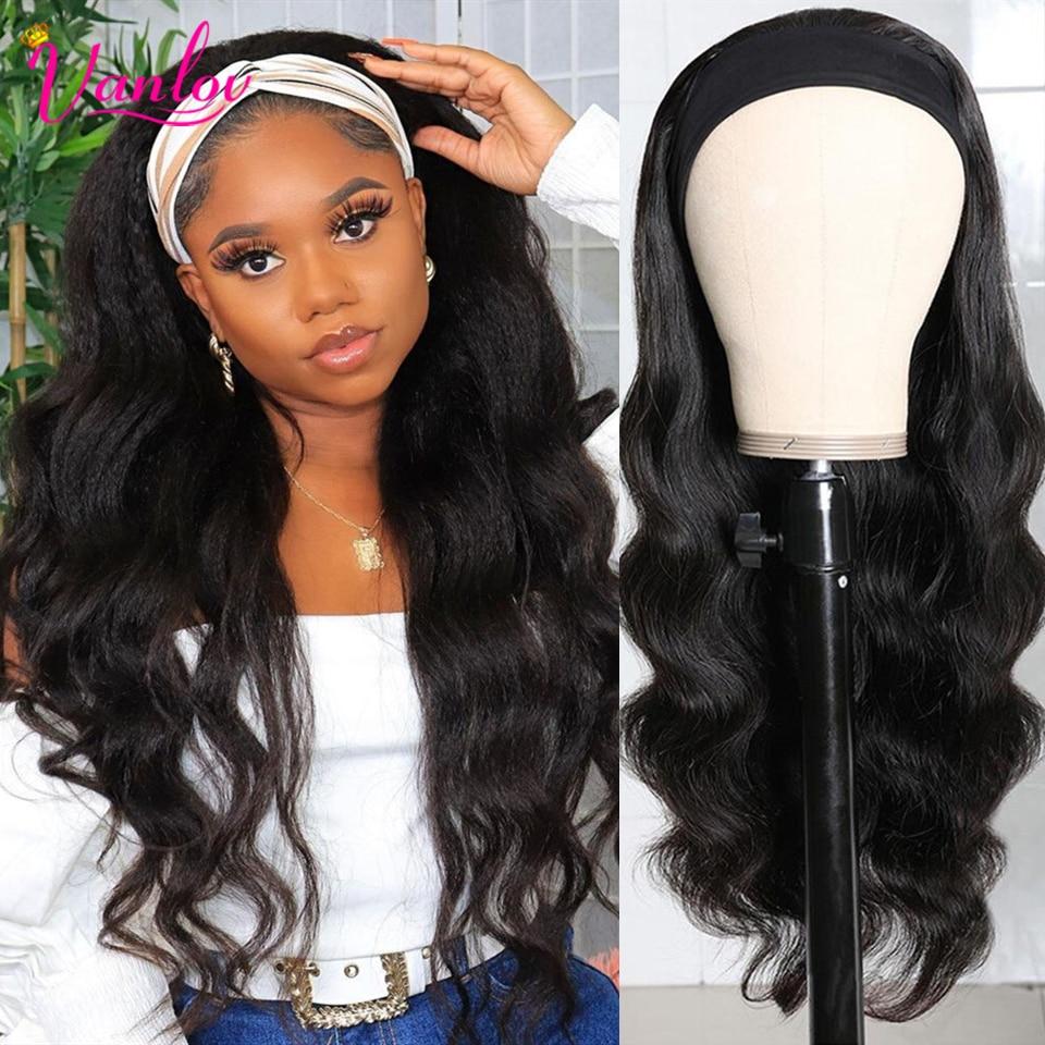Vanlov ciało fala pałąk peruka ludzki włos peruwiański szalik peruka Glueless pełna maszyna wykonane peruki Remy ludzki włos peruka dla czarnych kobiet