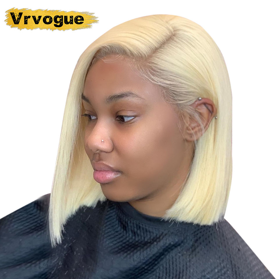613 Blonde Bob Lace Front Wig Brazilian Short Lace Front Human Hair Wigs For Black Women Bob Lace Front Wig Pre Plucked Can Dye