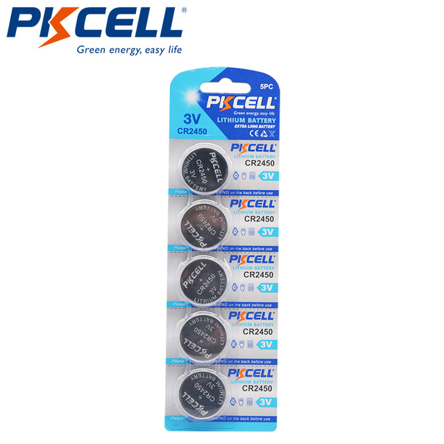 5 Pcs PKCELL 600 MAH CR2450 3 V ECR2450 KCR2450 5029LC LM 2450 Lithium Batterie Knopfzellen