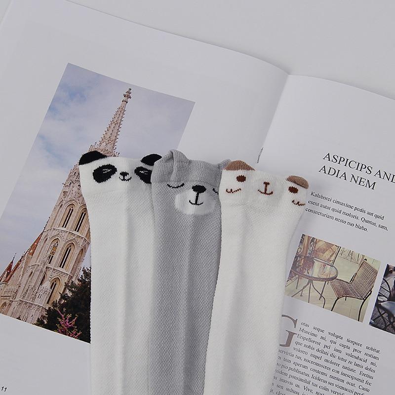 Купить с кэшбэком 3 Pair/Set Cartoon Cute Kids Cotton Socks Bear Animal Baby Cotton Socks Knee High Long Leg Socks Mesh Breathable Baby Socks