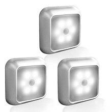 Wireless Motion Sensor PIR 6 LED Night Light Cordless Battery-Powered Light Set Stairs Aisle Lighting mini wireless pir motion sensor night light battery powered porch cabinet lamp