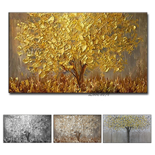 Unframed Hand Gemalt Messer Gold Baum Ölgemälde Auf Leinwand Große Palette 3D Gemälde Für Wohnzimmer Moderne Abstrakte Wand kunst