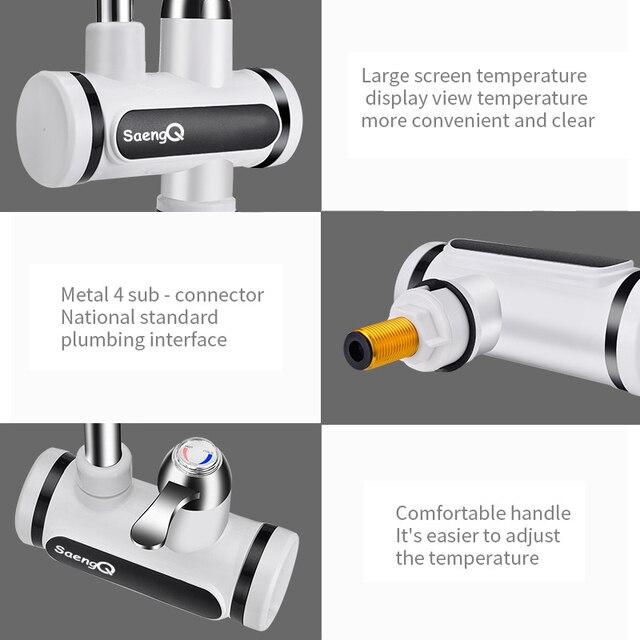 Saengq display de temperatura instantânea torneira de água quente tankless elétrica torneira de água instantânea quente aquecedor de água de aquecimento de água 6