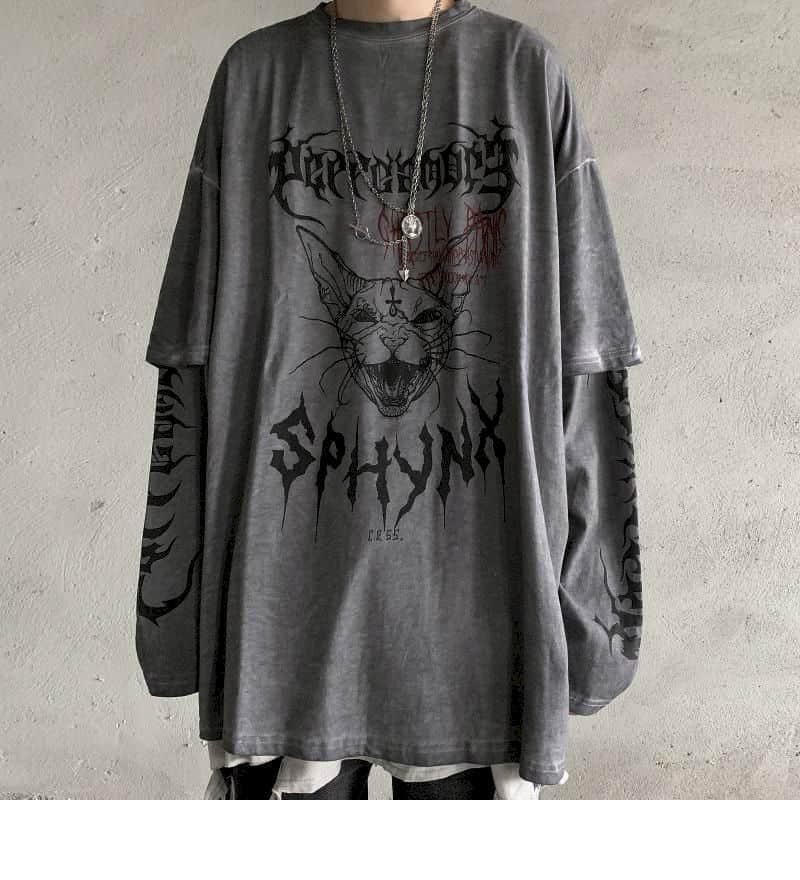 Punk Unisex T Shirt Streetwear Cool Patchwork Tshirt Harajuku Summer Tops Tees Spring Long Sleeve High Street Loose Japan Style