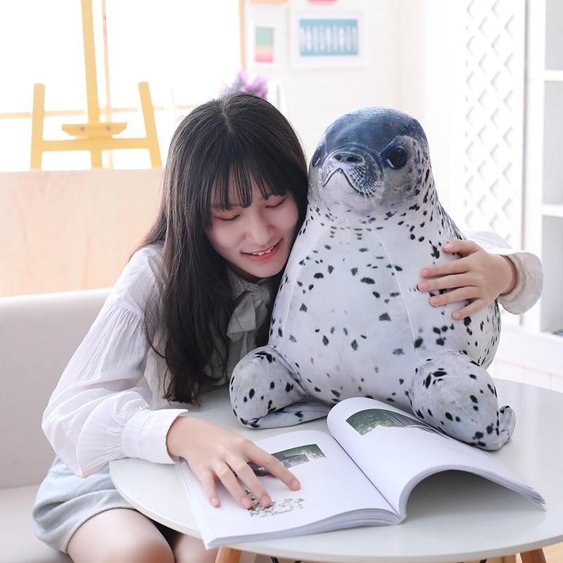 KUY 30CM-60cm Plush Seal Toys Stuffed Blob Seal Pillow Chubby Sea Lion Pillow Soft Hug Plush Pillow Animal Plush Toy Kids Gift