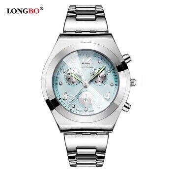 De moda de marca LONGBO de lujo resistente al agua Casual de mujer de cuarzo relojes mujer regalo completa de acero inoxidable reloj Montre Femme