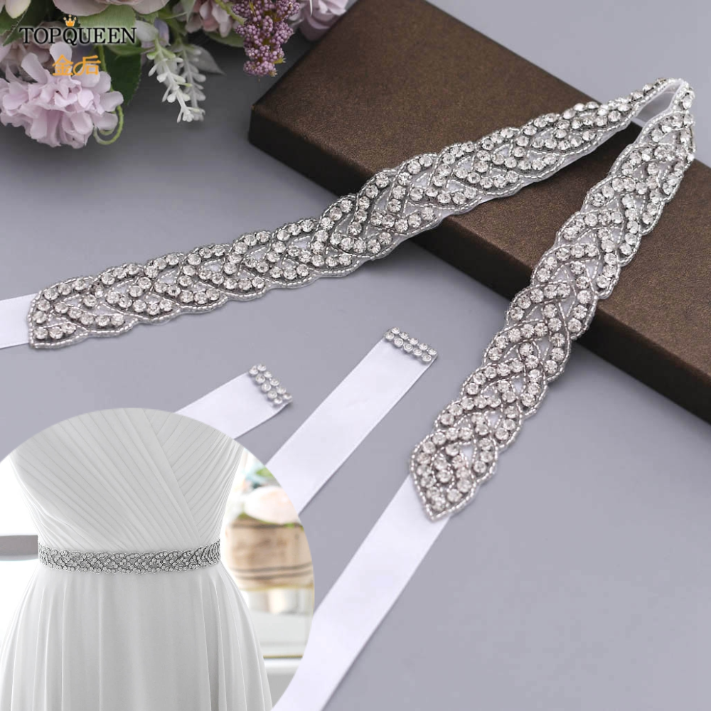 Handmad 20 Color Crystal waist Belt with Beaded Rhinestones Bridal sash