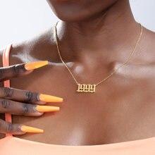 Ouro prata cor aço inoxidável ano de nascimento colar para mulher 1994 1995 1996 1997 1998 1999 longo corrente colares pendentes