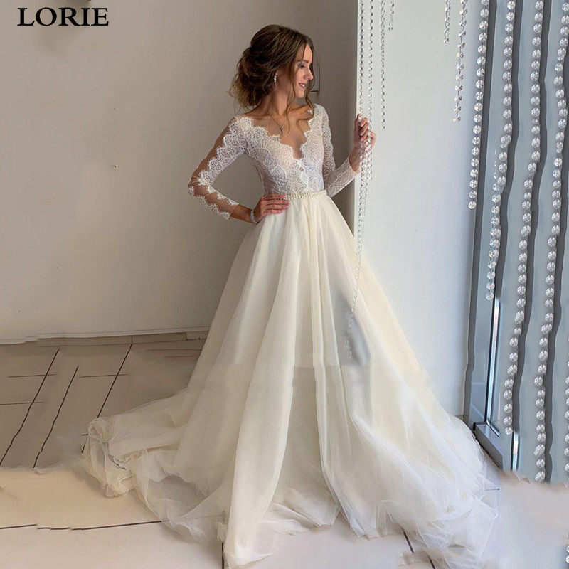 LORIE A Line Wedding Dresses Long Sleeve Lace Bride Dresses With Romantic Buttons Wedding Gowns Vestidos De Novia