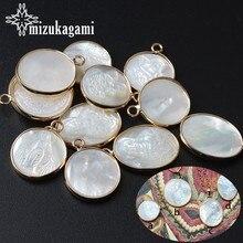 El yapımı doğal beyaz deniz kabuğu Virgen melek sikke takılar için 1 adet moda kolye küpe takı aksesuarları