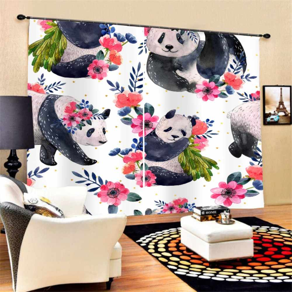 2 Panels Polyester Black-out Curtain 3D Print Cute Panda Black Eyes Flower Window Curtain,White Background,Living Room Decor