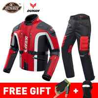 DUHAN Herbst Winter Kalt-beweis Motorrad Jacke Moto + Protector Motorrad Hosen Moto Anzug Touring Kleidung Schutz Getriebe Set