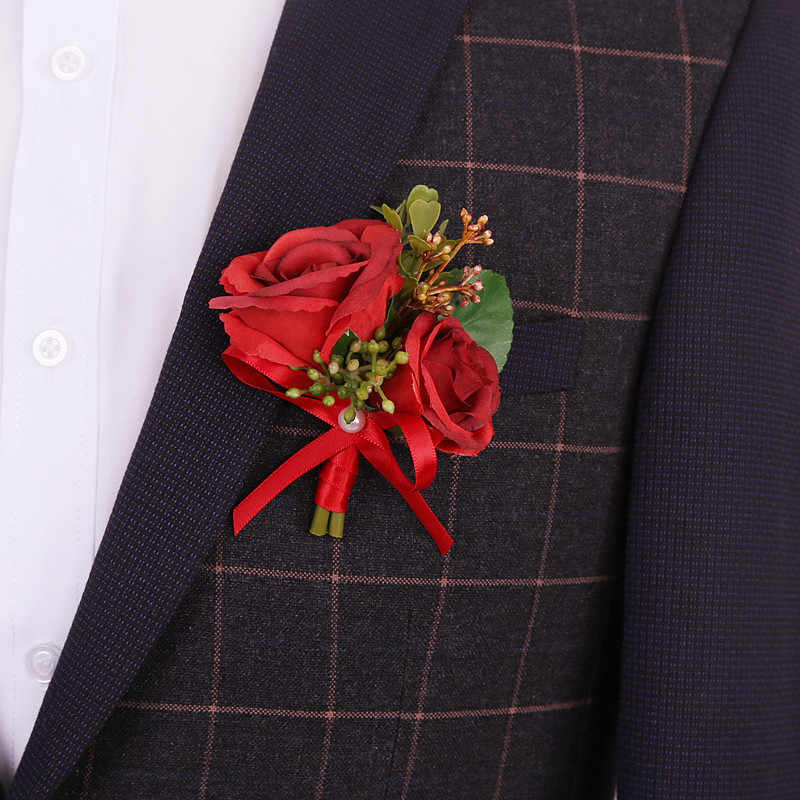Bros Bunga Korsase Dekorasi Pernikahan Groom Boutonniere Pengantin Pria Terbaik Sutra Rose Bunga Setelan Boutonniere untuk Dekorasi Pernikahan