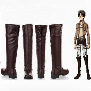 Image 1 - Shingeki No Kyojin atak na Titan Levi Cosplay mężczyźni buty dla dorosłych buty Ackerman Eren Jaeger Mikasa Halloween kostiumy dla kobiet