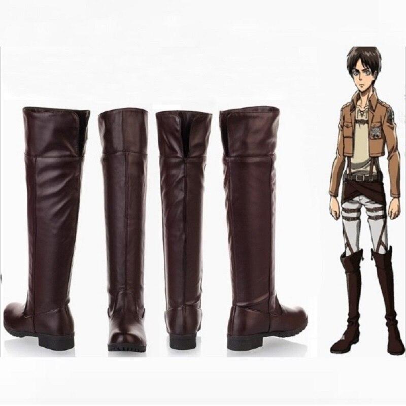Shingeki No Kyojin attaque sur Titan Levi Cosplay hommes adultes chaussures bottes Ackerman Eren Jaeger Mikasa Halloween Costumes pour femmes