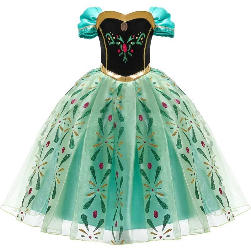 Princess Little Girls Cosplay Summer Flower Dresses Girl's Snow Queen Dress Clothing Baby Kids Beauty Princess Clothes Customes 4