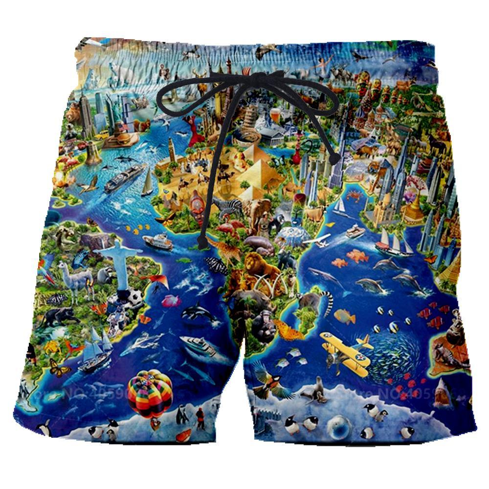New Funny Summer Men Women Board Shorts 3D Print World Map And Animals T Shirt Fashion Men's Bermuda Beach Trousers Tshirt 6XL