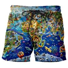 New Funny Summer Men Women Board Shorts 3D Print World Map and Animals T Shirt Fashion Men's Bermuda Beach Trousers Tshirt 6XL(China)