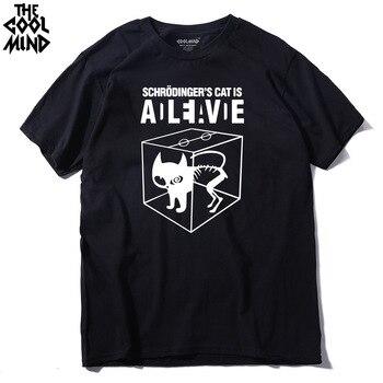 COOLMIND CA0212A 100% cotton Schrodinger's Cat print short sleeve men T shirt casual The Big Bang Theory mens Tshirt summer Tees - discount item  30% OFF Tops & Tees