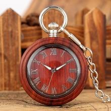 Retro Light Brown Wooden Quartz Pocket Watch Large Dial with Roman Numerals Classic Open Face Pendant Watch цены