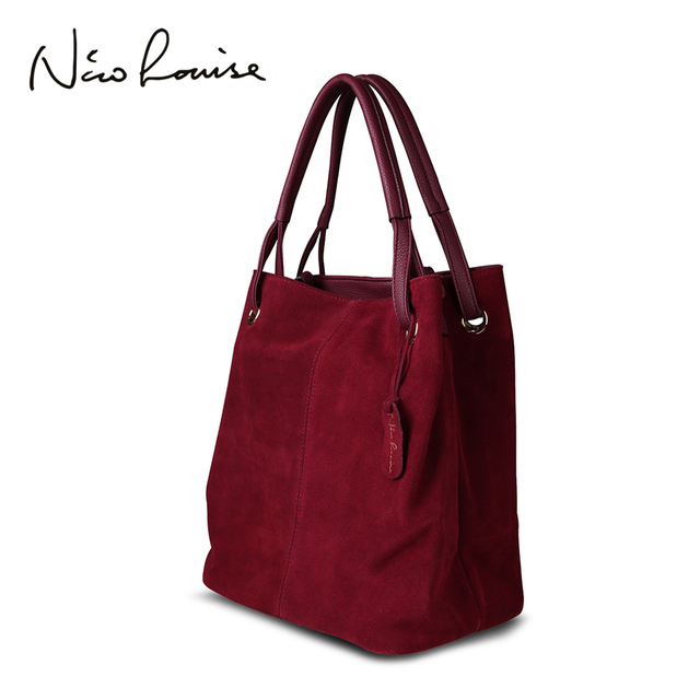 حقيبة يد نسائية من جلد الغزال الطبيعي مقسمة من نيكو لويز ، حقيبة يد نسائية كبيرة بمقبض علوي للترفيه حقيبة كتف عبر الجسم كاجوال