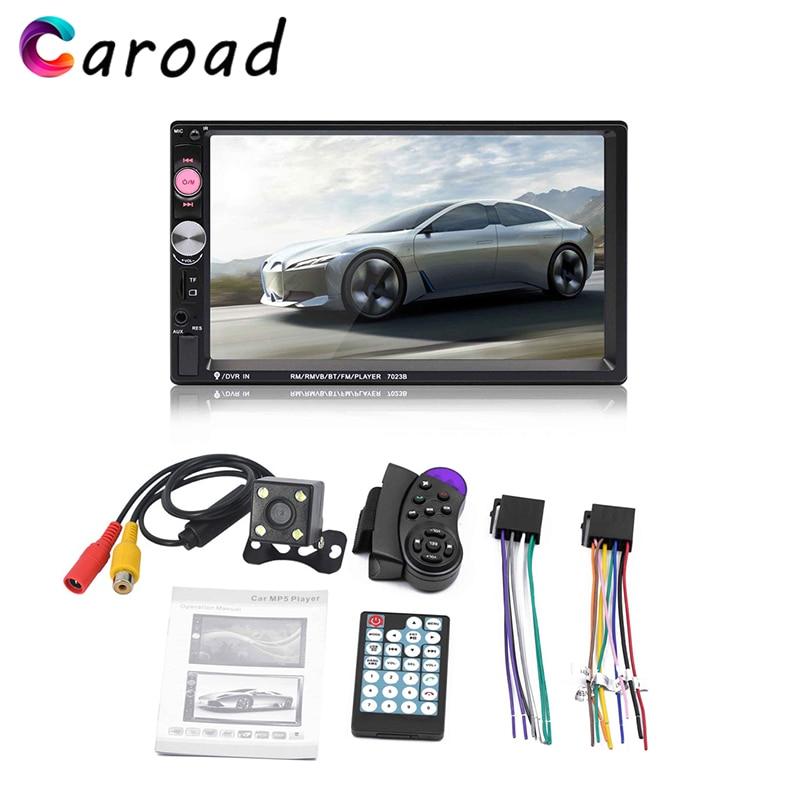 Caroad 7 Inch Car radio HD touch screen Bluetooth Stereo audio Dual 2 din Multimedia MP5 Player rear camera remote controller