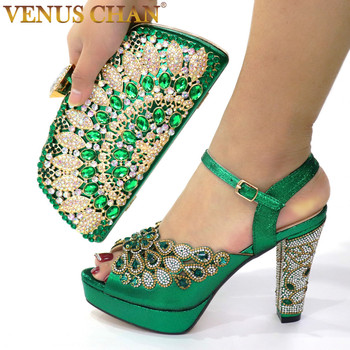 2020 NEW GREEN With Print Desgin Shoes And Evening Bag Set Hot Sale Sandal Handbag  Heel Height 10.5CM - discount item  15% OFF Women's Shoes
