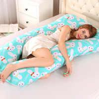 Almohada de apoyo para dormir para mujeres embarazadas cuerpo PW12 100% algodón estampado de conejo en forma de U almohadas de maternidad dormir lado