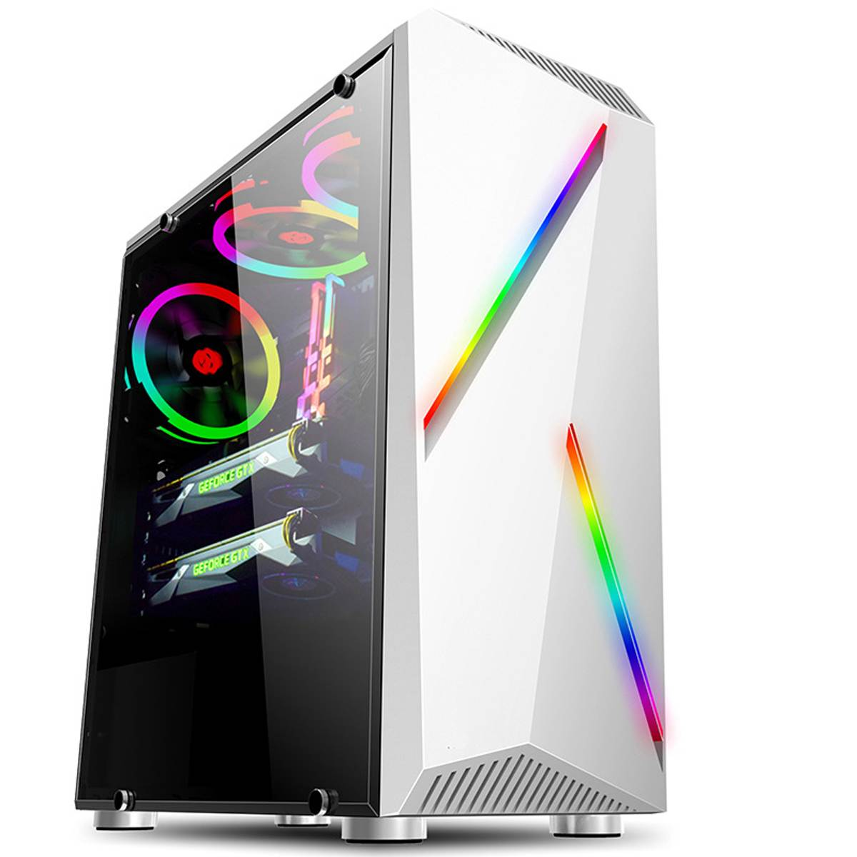 Micro Computer PC Case Gaming ATX Audio Transparente With 2 RGB Color Changing Light Strips 350X170X420mm