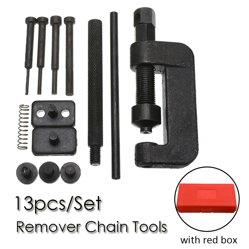 1 Set Motorcycle Bike ATV Chain Splitter Breaker Link Universal Riveter Tools Set Riveting Repair Kit Remover Chain Cutter