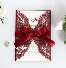 50pcs Laser Cut Birthday Wedding Invitations cards Flowers Lace design with text customized  RSVP invitaion cards rsvp