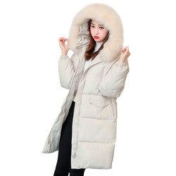 Nuevo Otoño Invierno mujer parka cremallera sólida manga larga con capucha de longitud media gruesa chaqueta de abrigo 2019 algodón de moda