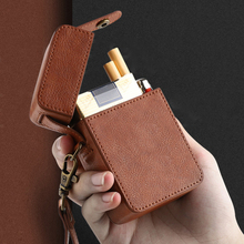 Portable Holds 20pcs Retro Leather Cigarette Case Lanyard Sm